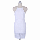 Discounted Women Dress O Neck Sleeveless Lace Stitching Graceful White Intl