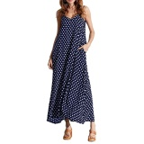 Price Comparisons Women Dress Polka Dot Print V Neck Sleeveless Loose Maxi Long Beach Bohemian Vintage One Piece Intl