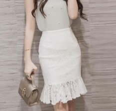 Review Women Elegant White Lace High Waist Wear To Work Office Party Bodycon Fitted Skirt Plus Size S 5Xl Intl Oem