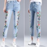 Latest Women Embroidered Jeans Distressed Cropped Jeans Flower Pants Off White Skinny Female Jeans Korean Slim Nine Pants Trousers Intl