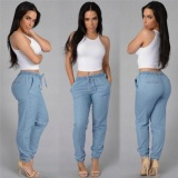 Discount Women Fashion Casual Elastic Waist Trousers Loose Dance Jogger Long Pants Blue Intl Oem On China