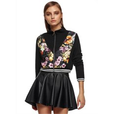 Buy Women Fashion Casual Slim Long Sleeve Floral Patchwork Zip Up Short Jacket Black Intl Oem Cheap