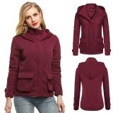 Women Fashion Long Sleeve Zip Up Solid Fleece Hooded Jacket Intl Deal