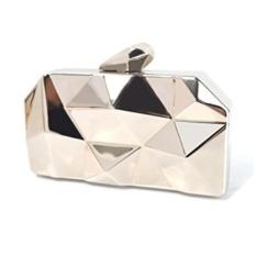 Women Fashion Metal Evening Handbags Geometric Clutches Purses Bag-Silver - intl