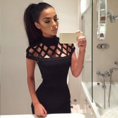 Shop For Women Fashion S*xy Slim Stand Collar Hollow Out Solid Bodycon Pencil Party Club Short Mini Dress Intl