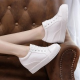 Top Rated Women Fashion Sneakers Hidden Heel Shoes White Flats Pu Leather Autumn Thick Heels Wedge Heels Students Casual Color White Intl