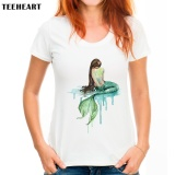 Price Women Fashion T Shirt Watercolor Mermaid Design For Girls Novelty White Lady Short Sleeve Tee Shirts Intl Custom T Shirt Online