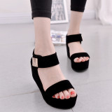 Best Deal Women Flat High Wedge Sandals Ankle Strap Velcro Platform Shoes Chunky Creepers Intl
