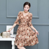 List Price Women Floral Chiffon Dress Summer Short Sleeve A Line Dresses V Neck Intl Oem