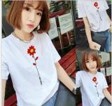 Discount Women Flower Print White Summer T Shirt Top Tee Blouse Intl China