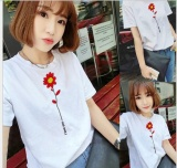 Compare Women Flower Print White Summer T Shirt Top Tee Blouse Intl Prices