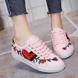 Review Women Flower Rose Embroidery Lace Up Sneakers Flat Casual Plat Shoes Pink Intl Oem