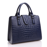 Price Comparisons For Women Genuine Leather Tote Bags Crocodile Pattern Shoulder Bag Handbag Blue Intl