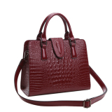 Buy Women Genuine Leather Tote Bags Crocodile Pattern Shoulder Bag Handbag Red Cheap On Singapore