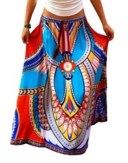 Wholesale Women Geo Ethnic Folk Print Full Length Casual Beach Skirt Blue Intl
