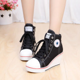 Review Women Girls Shoes High Top Wedge Heel Shoes Lace Up Canvas Sneakers 8Cm Height China