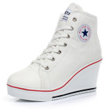 Sale Women Girls Shoes High Top Wedge Heel Shoes Lace Up Canvas Sneakers 8Cm Height Online On China