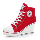 Women Girls Shoes High Top Wedge Heel Shoes Lace Up Canvas Sneakers 8Cm Height Best Buy