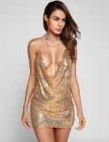 Price Women Halter Chain Cowl Collar Backless Sequined Bodycon Club Party Mini Dress Yellow Intl Oem Online
