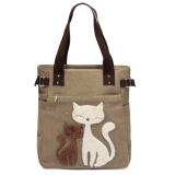 Compare Price Women Handbag Canvas Bag With Cute Cat Fashion Ladies Small Bags Khaki Vakind On China