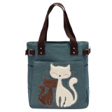 Sale Women Handbag Canvas Bag With Cute Cat Fashion Ladiesl Bags Light Green Vakind Wholesaler