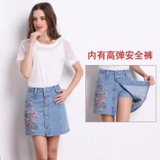 List Price Women High Waist Denim Skirt 2017 Summer Embroidered Short Denim Skirt Inside With Safety Pants Light Blue Intl Oem