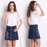 Women High Waist Denim Skirt 2017 Summer Embroidered Short Jeans Skirt Autumn Ladies Casual Mini Skirt Dark Blue Intl Cheap