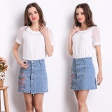 Sale Women High Waist Denim Skirt 2017 Summer Embroidered Short Jeans Skirt Autumn Ladies Casual Mini Skirt Light Blue Intl Oem Original