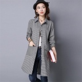 Who Sells The Cheapest Women Korean Style Long Plaid Shirts Office Lady Long Sleeve Shirtcasual Outwear Slim Coat Jacket Intl Online