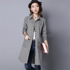 Women Korean Style Long Plaid Shirts Office Lady Long Sleeve Shirtcasual Outwear Slim Coat Jacket Intl Price Comparison