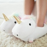 Get Cheap Women Ladies Cute Soft Plush Led Light Up Warm Glow Novelty Unicorn Slippers Intl
