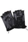 Cheaper Women Ladies Pu Leather Goth Style Fingerless Half Finger Driving Riding Lace Gloves