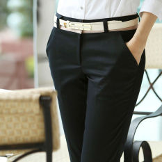 Price Women Ladies Suit Pant Business Straight Black Trousers Office Formal Slim Fit Mid Waist Pant Oem China