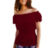 Buy Women Ladies Tunic Tops Off Shoulder Casual Short Sleeve Lace Blouse Tee Shirt Wine Red Intl