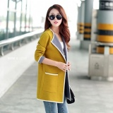 Best Rated Women Lady Autumn Sweaters Female Mid Length Jacket Coats Long Knitted Cardigans Long Sleeve Splicing Loose Cotton Coats Fall Yellow Sweaters Intl