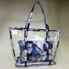 Discount Women Lady Clear Transparent Beach Bag Shoulder Summer Jelly Candy Handbag Tote Blue Intl