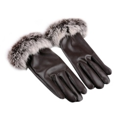 Autumn Gloves Women Rabbit Fur Pu Leather Warm Gloves Black Touch Screen Mittens Winter Ladies Full Palm Touched Velvet Ladies Back To Search Resultsapparel Accessories