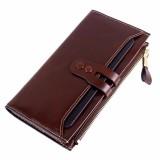 For Sale Women Lady Purse Large Capacity Luxury Waxy Leather Wallet Zipper Pocket Long Coffee Intl