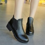 Women Leather Thick High Heel Bootie Ankle Boots Ladies Shoes Black Intl Review