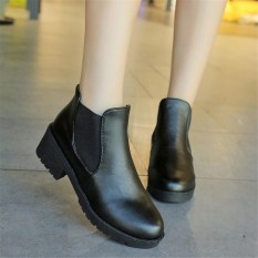 Purchase Women Leather Thick High Heel Bootie Ankle Boots Ladies Shoes Black Intl