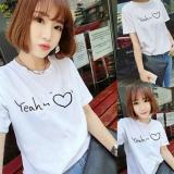Buy Women Letter Print White Summer T Shirt Top Tee Blouse Intl