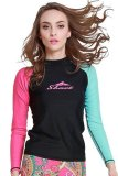 Buy Women Long Sleeve Swimwear Swimsuit Scuba Snorkeling Diving Suit Rash Guard Surf Shirts Tops Rose Green Oem