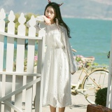 Women Long Sleeve White Elegant Casual Midi Dress Intl For Sale