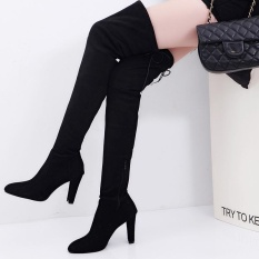How To Get Women Long Stretch Over The Knee Boots Thigh High Heeled Boots Zipper Lace Shoes Intl