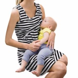 Lowest Price Women Maternity Nursing Breastfeeding Pregnant Sleeveless Dress Striped Dresses Intl