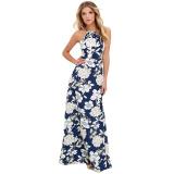 Brand New Women Maxi Dress Halter Neck Floral Print Sleeveless Summer Beach Holiday Long Slip Dress Blue Intl