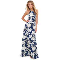 Retail Price Women Maxi Dress Halter Neck Floral Print Sleeveless Summer Beach Holiday Long Slip Dress Blue Intl