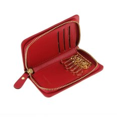 Discount Women Men Ladies Leather Zipper Key Chain Case Pouch Credit Cards Holder Key Holder And Card Wallet Pocket Keyholder Case Coin Key Purse Money Wallet Bag Bags Gift Purse Xmas Gift Red Intl Oem China