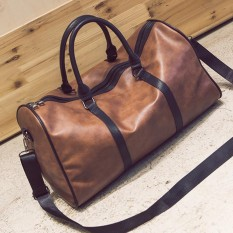 Women Men Leather Outdoor Large Gym Duffel Bag Travel Weekend Overnight Luggage Brown - Intl By Freebang.