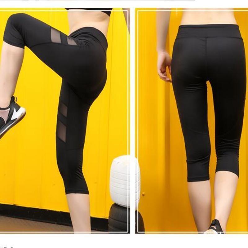 563767824f27 Women Mesh Pamts Sportswear Breathble Tight with Pocket Female Seven Point Yoga  Pants Running Elastic Leggings